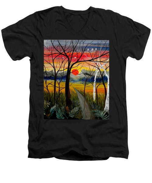 Men's V-Neck T-Shirt featuring the painting Out Of The Woods by Renate Nadi Wesley