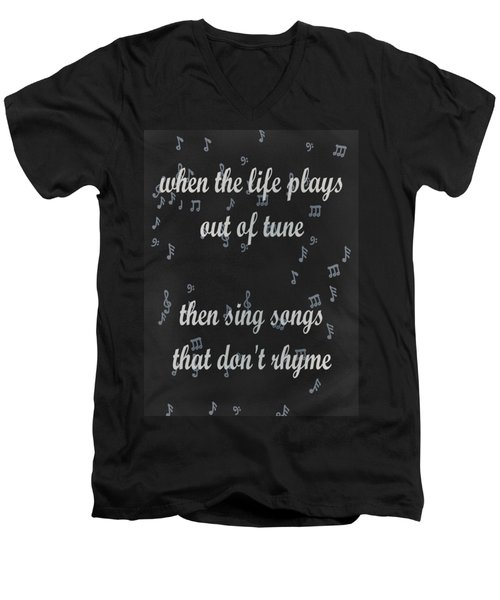 Out Of Tune Black Men's V-Neck T-Shirt