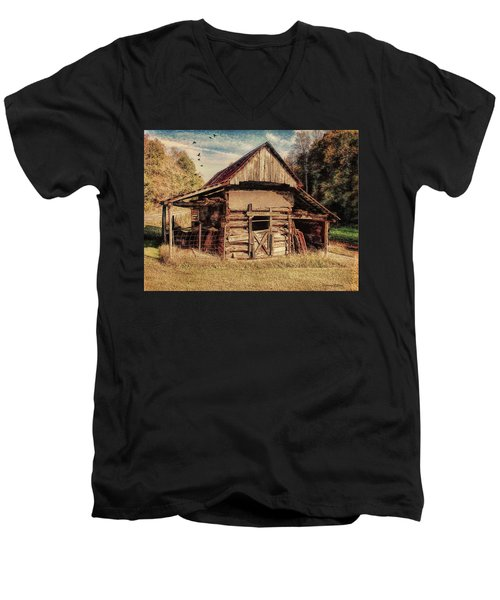 Men's V-Neck T-Shirt featuring the photograph Out To Pasture 2 by Bellesouth Studio