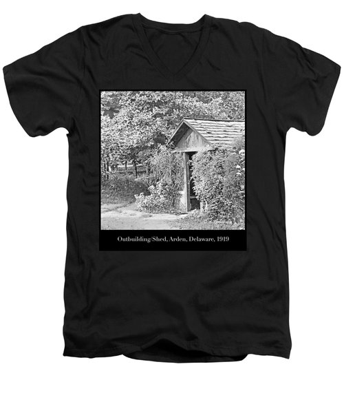Men's V-Neck T-Shirt featuring the photograph Outbuilding, Shed Arden Delaware 1919 by A Gurmankin
