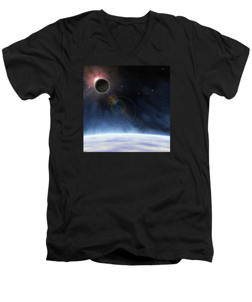 Men's V-Neck T-Shirt featuring the digital art Outer Atmosphere Of Planet Earth by Phil Perkins