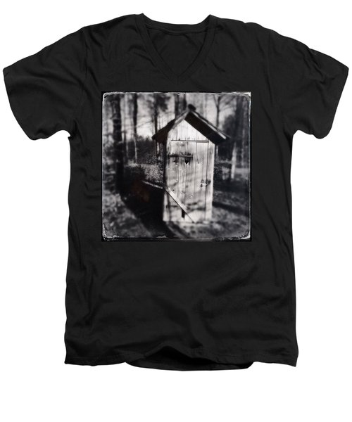 Outhouse Black And White Wetplate Men's V-Neck T-Shirt