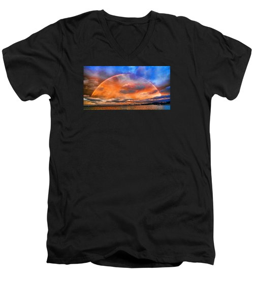 Men's V-Neck T-Shirt featuring the photograph Over The Top Rainbow by Steve Siri