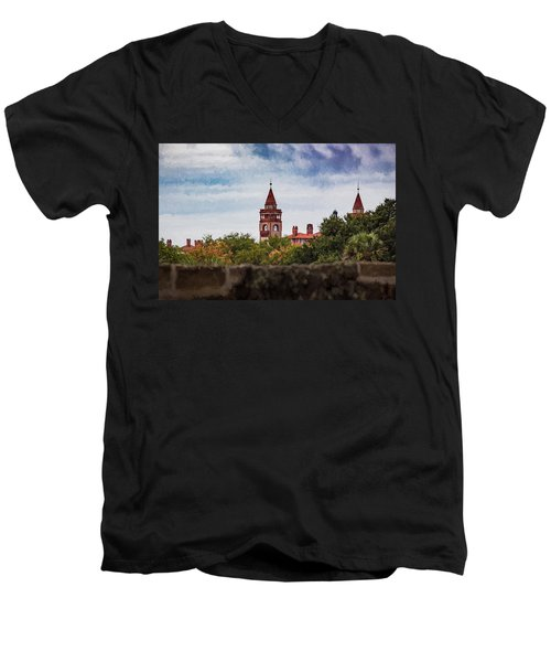 Men's V-Neck T-Shirt featuring the photograph Over The Wall by Kathleen Scanlan