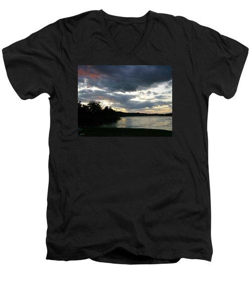 Overcast Morning Along The River Men's V-Neck T-Shirt by Skyler Tipton