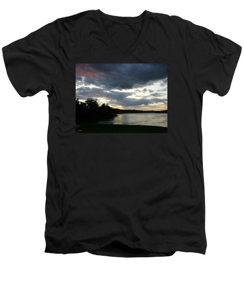 Overcast Morning Along The River Men's V-Neck T-Shirt