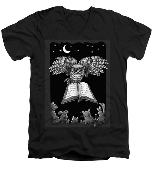 Owl And Friends Blackwhite Men's V-Neck T-Shirt by Retta Stephenson