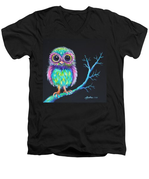 Men's V-Neck T-Shirt featuring the painting Owl Be Your Girlfriend by Agata Lindquist