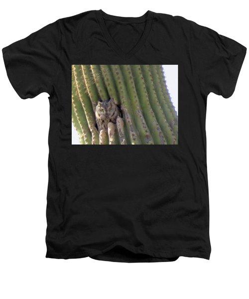 Owl In Cactus Burrow Men's V-Neck T-Shirt