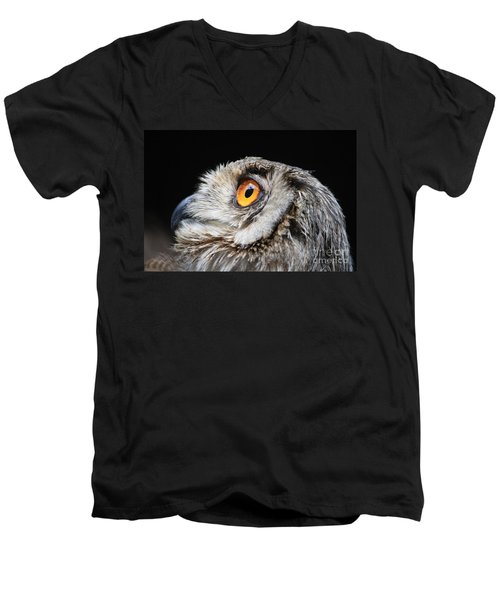 Owl The Grand-duc Men's V-Neck T-Shirt by Mary-Lee Sanders