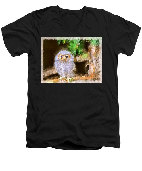 Men's V-Neck T-Shirt featuring the digital art Owlet-baby Owl by Maciek Froncisz