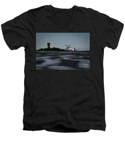 Men's V-Neck T-Shirt featuring the photograph P-51  by Douglas Stucky