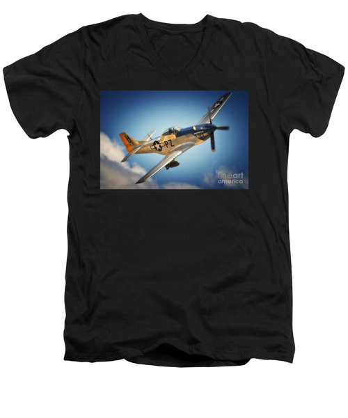 P-51 Mustang Hell Er Bust Men's V-Neck T-Shirt