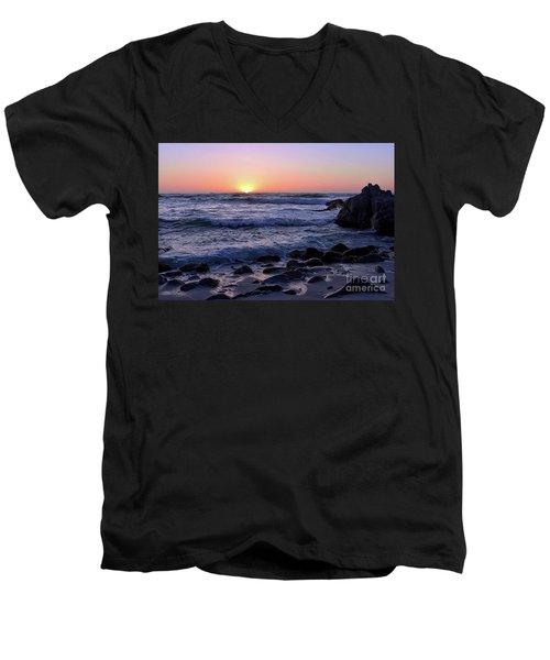 Pacific Twilight Men's V-Neck T-Shirt by Gina Savage