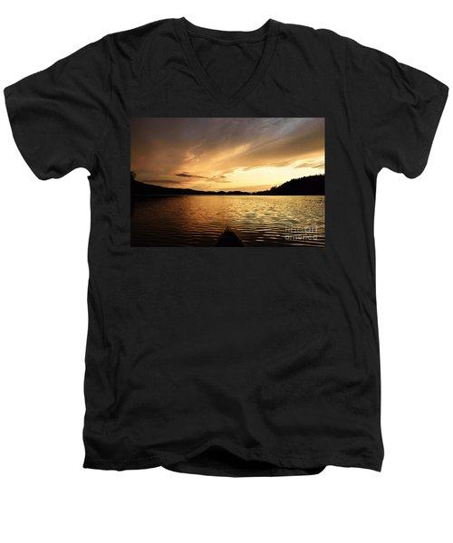 Men's V-Neck T-Shirt featuring the photograph Paddling At Sunset On Kekekabic Lake by Larry Ricker