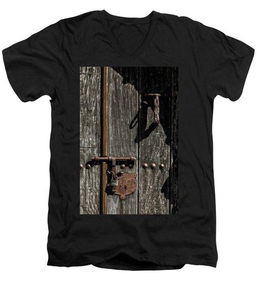 Padlock Men's V-Neck T-Shirt by Edgar Laureano