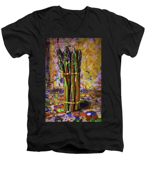Painted Asparagus Men's V-Neck T-Shirt