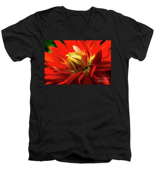 Painted Dahlia In Full Bloom Men's V-Neck T-Shirt