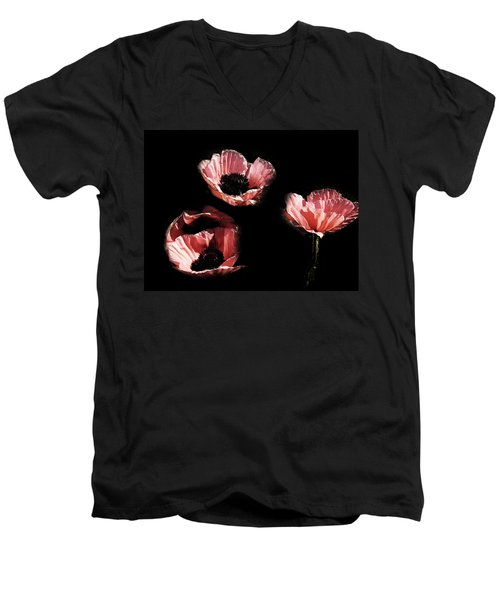 Painted Peach Poppies Men's V-Neck T-Shirt by Tina M Wenger