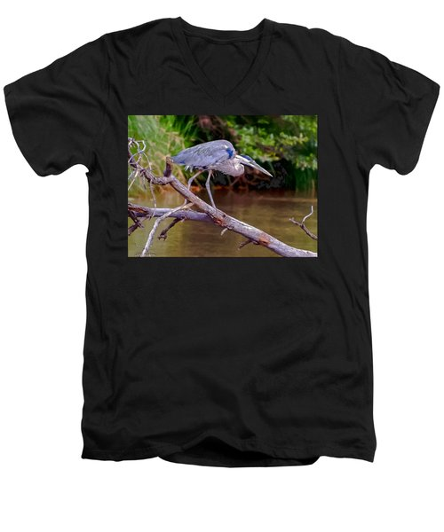 Painting Blue Heron Oak Creek Men's V-Neck T-Shirt by Dr Bob Johnston