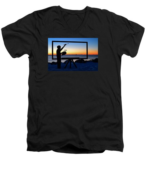 Painting The Perfect Sunrise Men's V-Neck T-Shirt by James Kirkikis