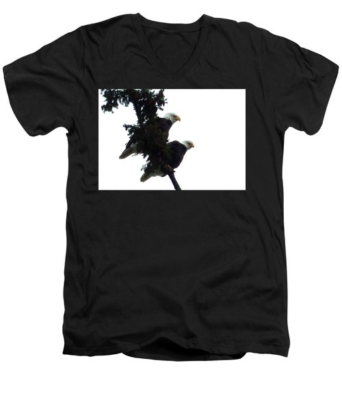 Men's V-Neck T-Shirt featuring the photograph Pair Of Eagles In A Tree by Karen Molenaar Terrell