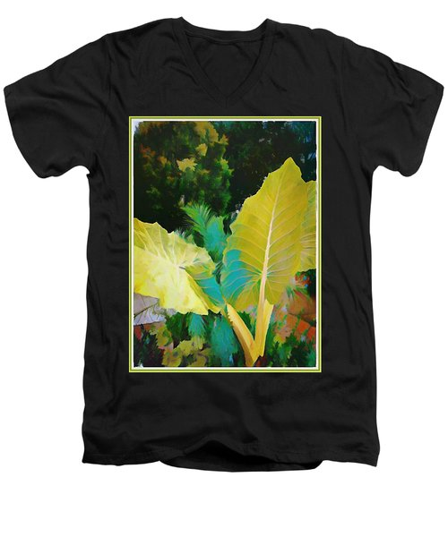 Men's V-Neck T-Shirt featuring the painting Palm Branches by Mindy Newman