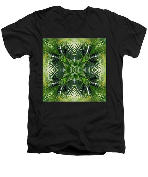 Men's V-Neck T-Shirt featuring the photograph Palm Frond Kaleidoscope by Francesa Miller