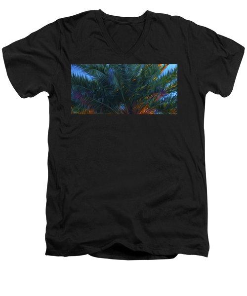 Palm Tree In The Sun Men's V-Neck T-Shirt by Glenn Gemmell