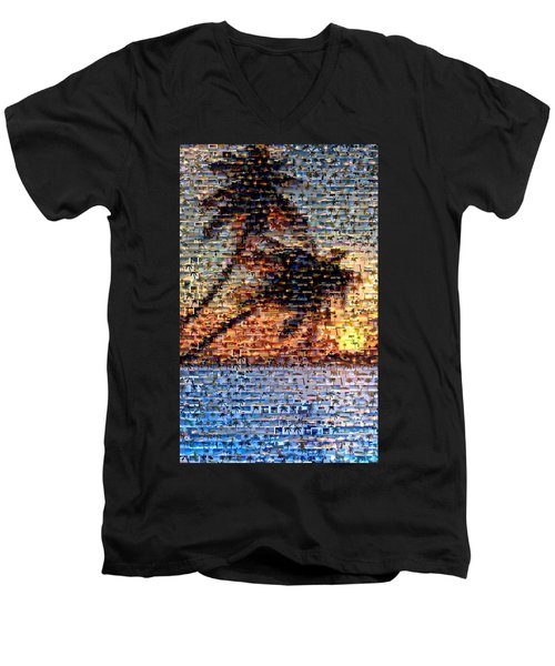 Men's V-Neck T-Shirt featuring the mixed media Palm Tree Mosaic by Paul Van Scott