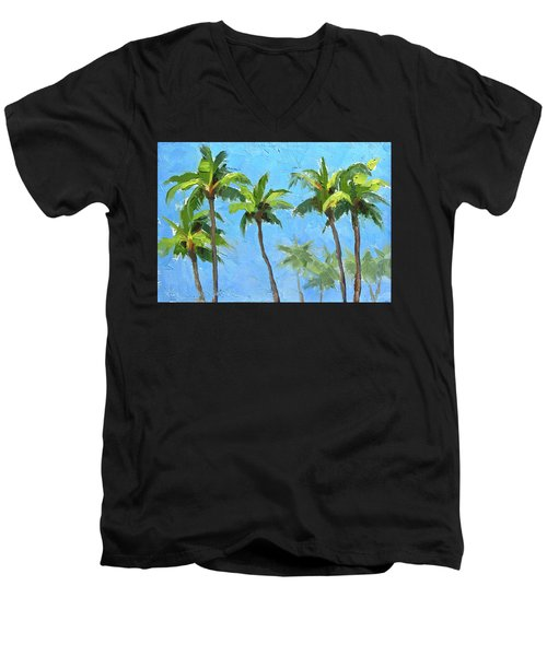 Men's V-Neck T-Shirt featuring the painting Palm Tree Plein Air Painting by Karen Whitworth