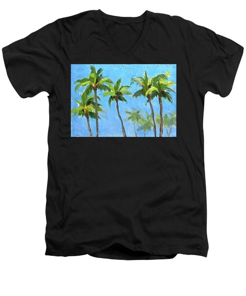 Palm Tree Plein Air Painting Men's V-Neck T-Shirt