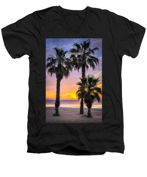 Palm Tree Sunrise. Men's V-Neck T-Shirt
