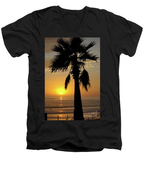 Palm Tree Sunset Men's V-Neck T-Shirt