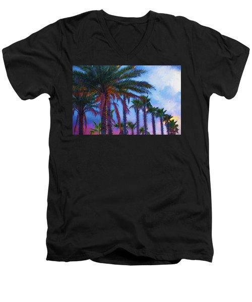 Palm Trees 3 Men's V-Neck T-Shirt by Glenn Gemmell