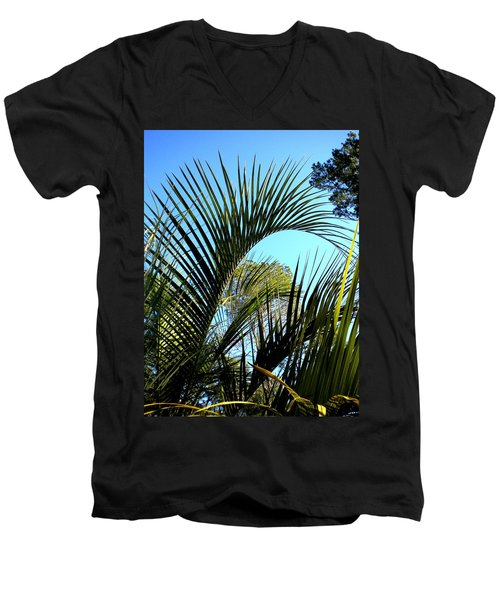 Men's V-Neck T-Shirt featuring the painting Palmetto 2 by Renate Nadi Wesley
