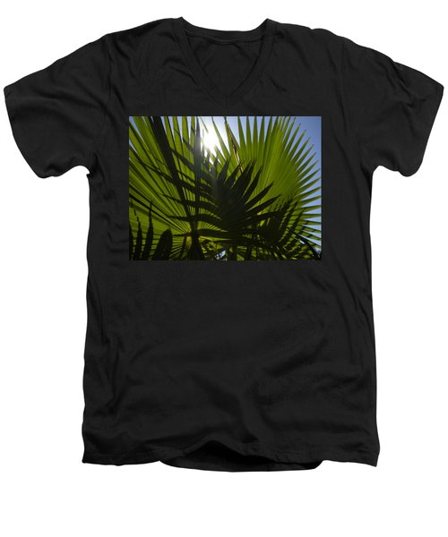 Men's V-Neck T-Shirt featuring the photograph Palmetto 3 by Renate Nadi Wesley
