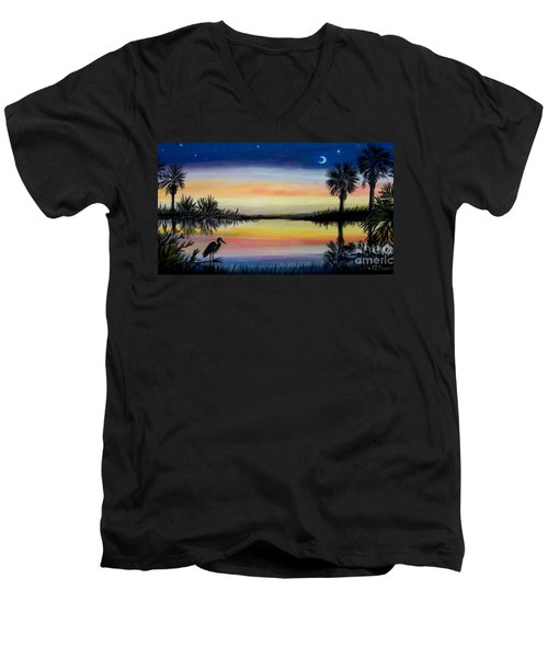 Palmetto Tree And Moon Low Country Sunset Men's V-Neck T-Shirt by Patricia L Davidson