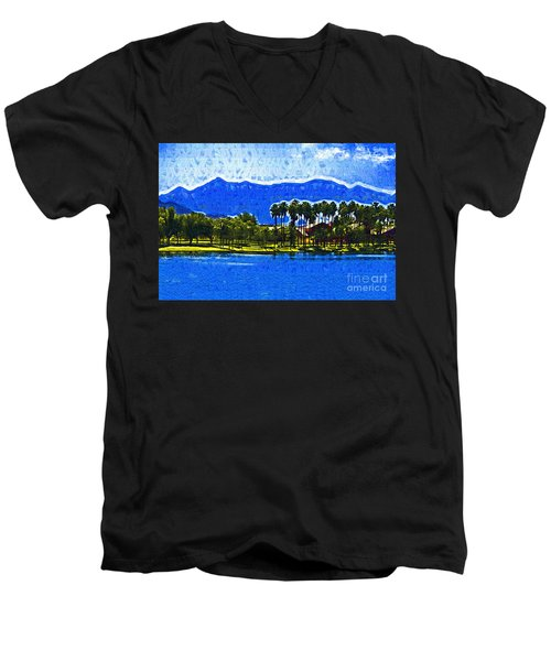 Palms And Mountains Men's V-Neck T-Shirt by Kirt Tisdale