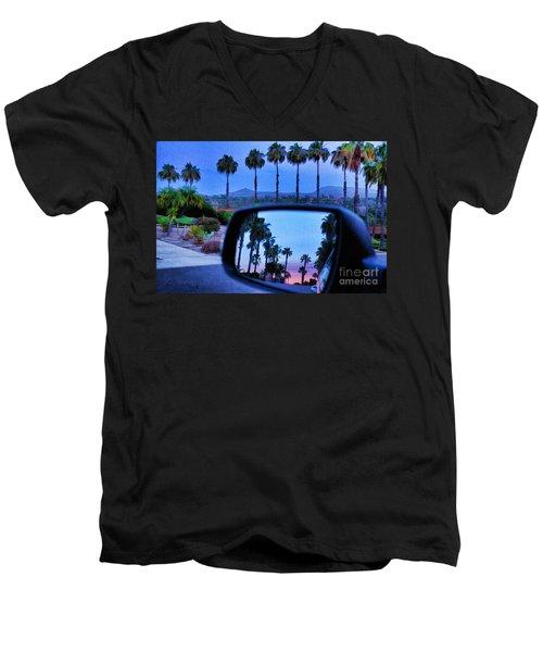 Palms Sunset Reflection Men's V-Neck T-Shirt by Sharon Soberon