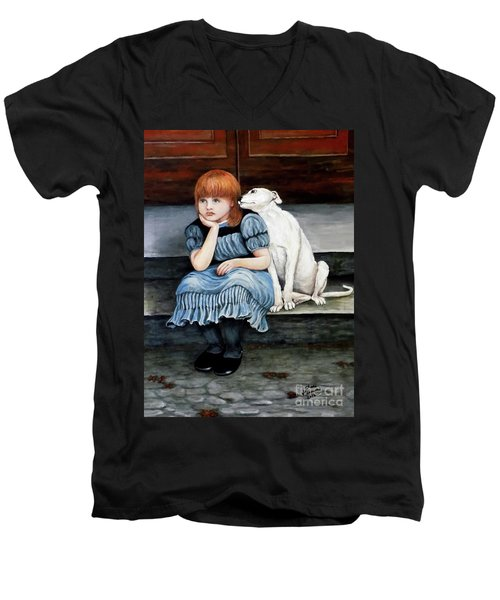 Men's V-Neck T-Shirt featuring the painting Pals Forever by Judy Kirouac