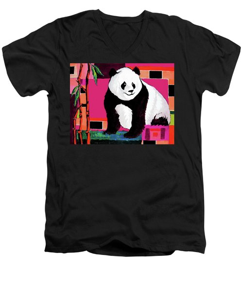Panda Abstrack Color Vision  Men's V-Neck T-Shirt