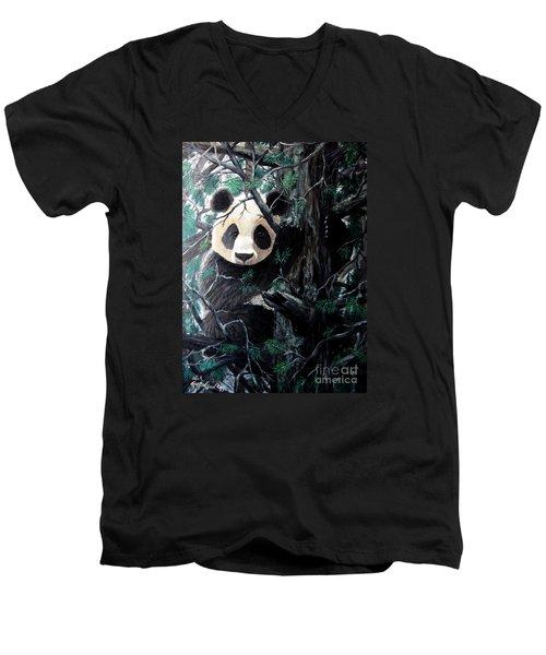 Panda In Tree Men's V-Neck T-Shirt by Nick Gustafson