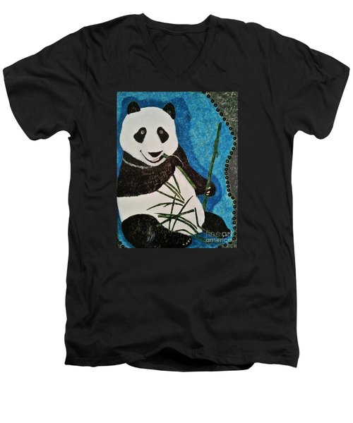 Men's V-Neck T-Shirt featuring the painting Panda by Jasna Gopic