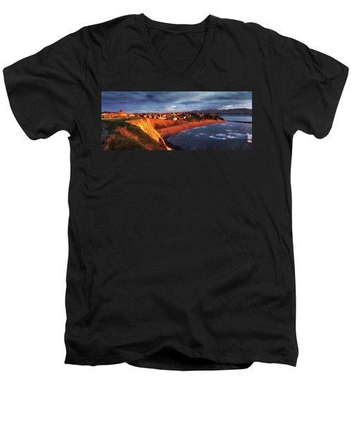 Panorama Of Aixerrota Sunset Men's V-Neck T-Shirt