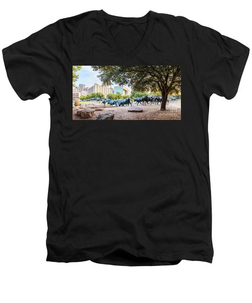 Panorama Of Cattle Drive At Pioneer Plaza In Downtown Dallas - North Texas Men's V-Neck T-Shirt