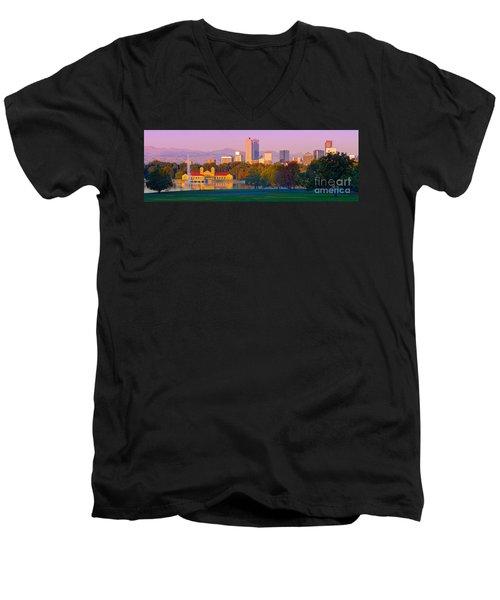 Panorama Of Denver Skyline From Museum Of Nature And Science - City Park Denver Colorado Men's V-Neck T-Shirt