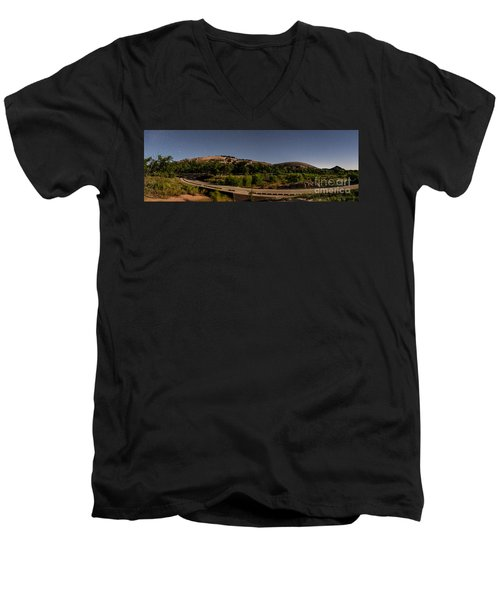 Panorama Of Enchanted Rock At Night - Starry Night Texas Hill Country Fredericksburg Llano Men's V-Neck T-Shirt
