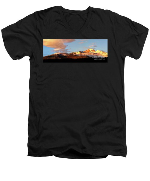 Panorama View Of Longs Peak At Sunrise Men's V-Neck T-Shirt by Ronda Kimbrow