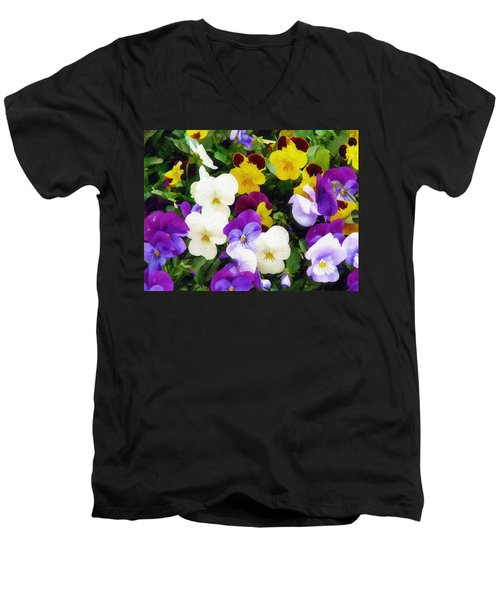 Pansies Men's V-Neck T-Shirt by Sandy MacGowan